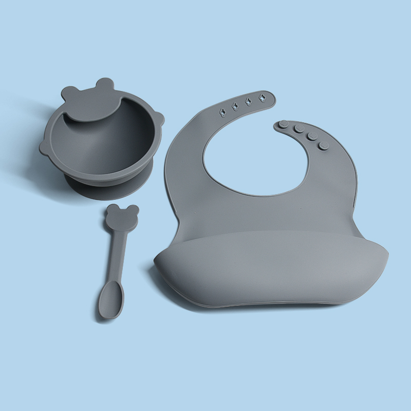 Legenday Hot Sale Silicone Baby Feeding Set Feed Baby Food Supplies Baby Bib Bowl And Spoon Fork