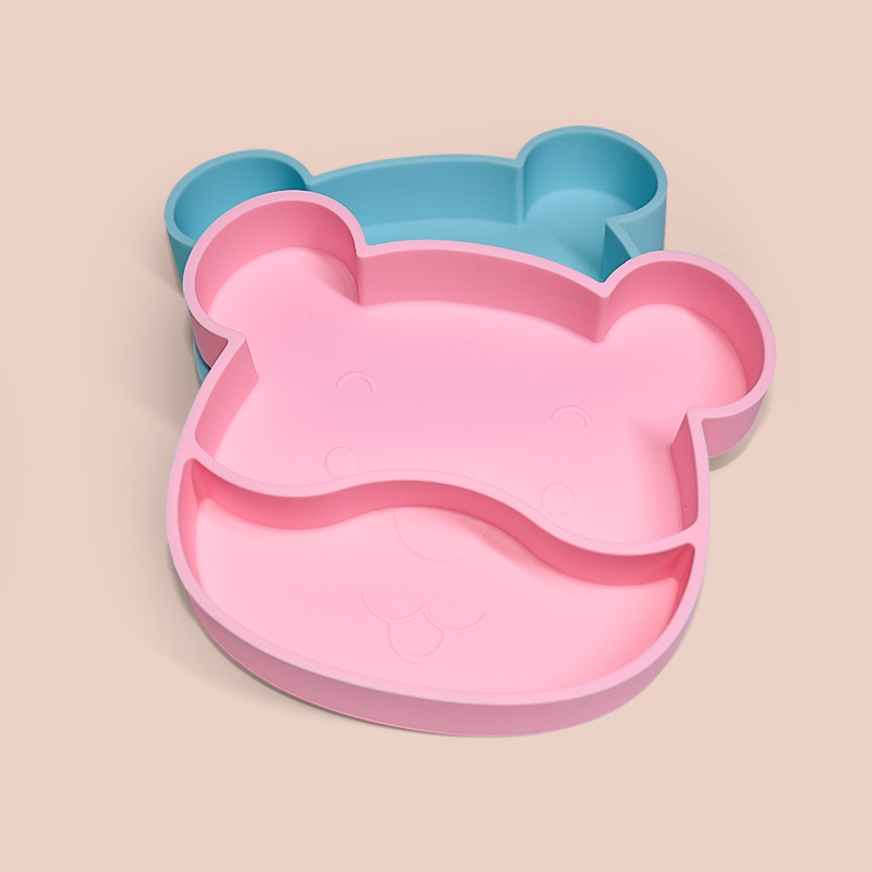 Legenday Custom Printing Plate Cartoon Shaped Eco-Friendly Suction Baby Plate Silicone Divided Plate
