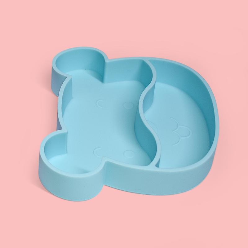 Legenday Bpa Free Soft Silicone Baby Plate Feeding Set Non-Slip Suction Silicone Baby Divided Plate