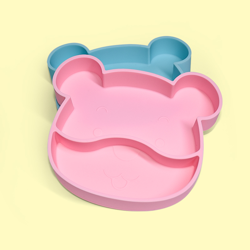 Legenday Custom Logo Divided Silicone Feeding Plate Baby Silicone Suction Dinner Plate With Lid