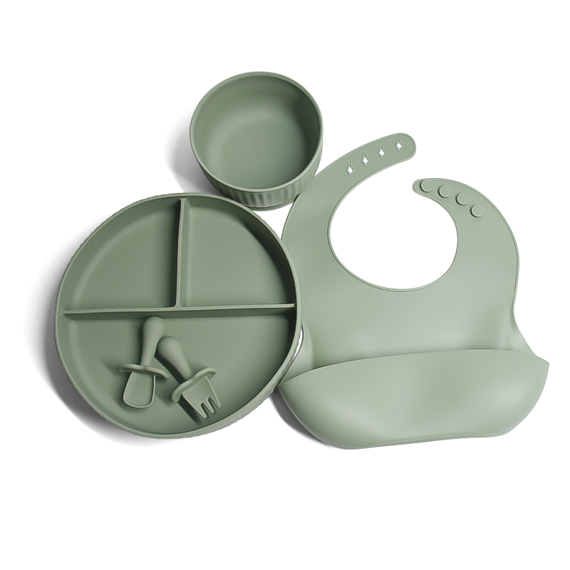 Legenday Factory Price Silicone Baby Dining Set Bibs And Bowl Suction Plate Kids Silicon Baby Eating Set