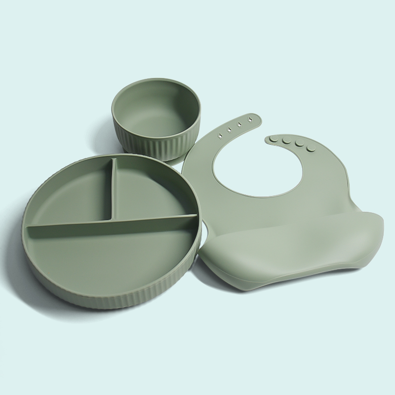 Legenday Custom Eco-Friendly Food Grade Silicone Baby Feeding Plate Set Suction Divided Baby Plate Set