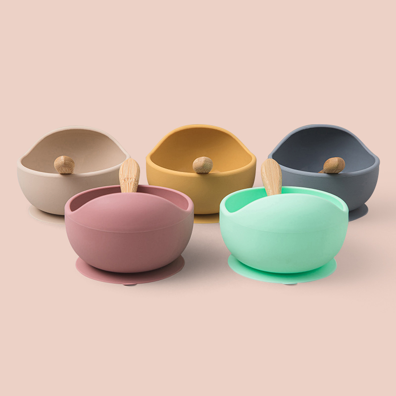 Legenday Hot Seller Silicone Baby Bowl Colorful Tableware Silicone Baby Feeding Suction Bowl With Spoon