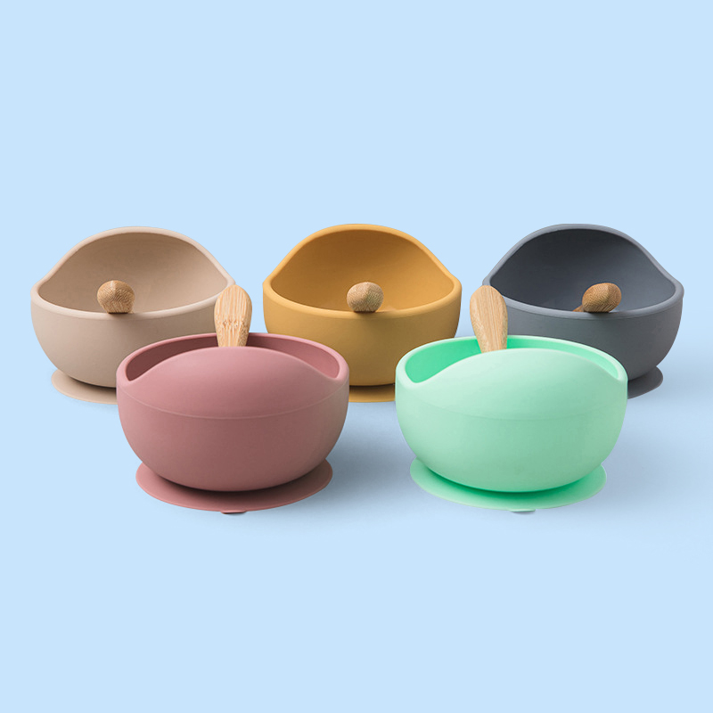 Legenday Manufacturer Food Grade Bpa Free Kids Feeding Spoon Waterproof Baby Suction Silicone Bowl