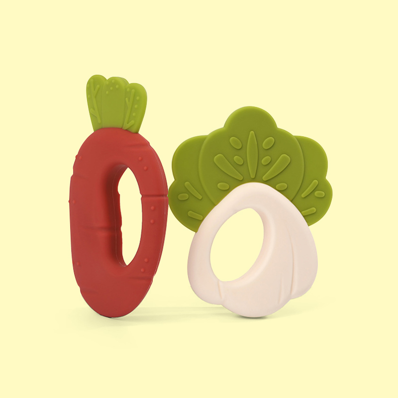 Legenday New Design Carrot Mushroom Bpa Free Food Grade Baby Soft Chewing Teether Silicone Toys