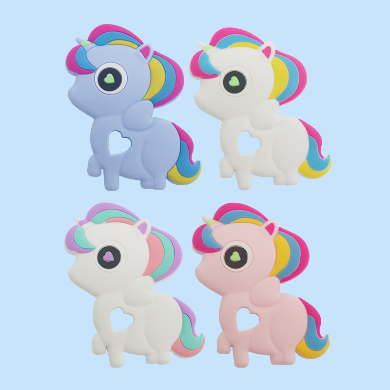 Legenday New Design Food Grade Cute Unicorn Teether Silicone 3D Baby Teether Teething Chewing Toys