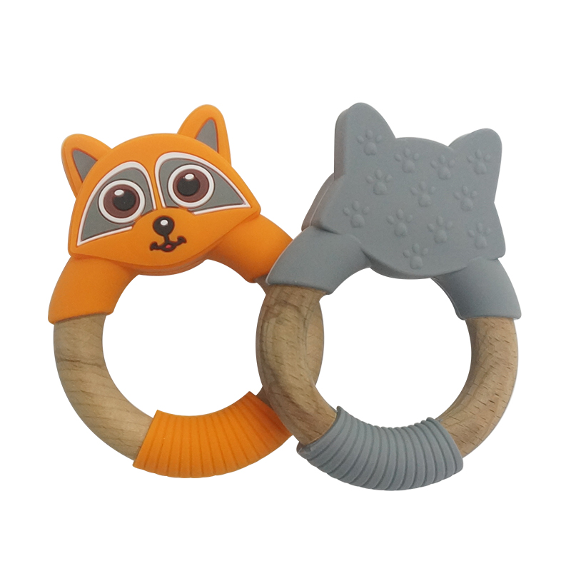 Legenday Personalized Non-Toxic Wooden Teething Toy Pacifier Clip Silicone Baby Teether Ring