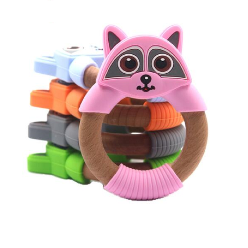 Legenday New Arrivals Non-Toxic Teething Ring Toy Bpa Free Baby Silicone And Wooden Teether