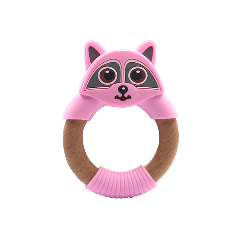 Legenday Bpa Free Silicone Baby Teething Toy Full Food Grade Silicone Wood Teether Ring