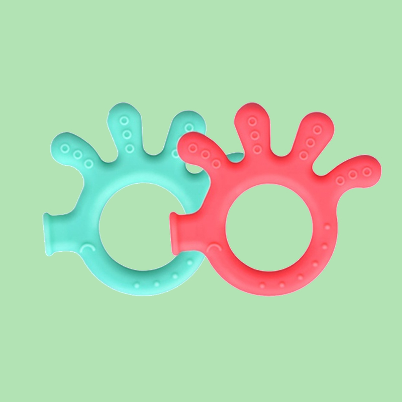 Legenday Custom Logo Eco Friendly Organic Palm Shape Baby Teether Ring Silicone Baby Chew Toy Teether