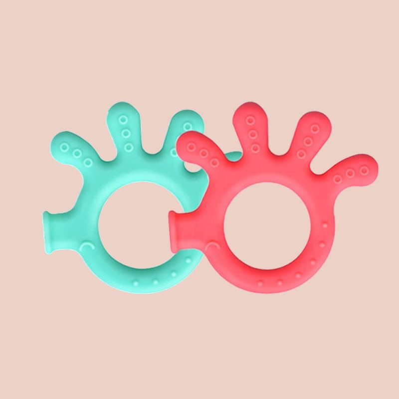 Legenday Eco-Friendly Manufacturer Easy To Hold Soft Baby Teething Toy Hand Shape Silicone Teether Ring