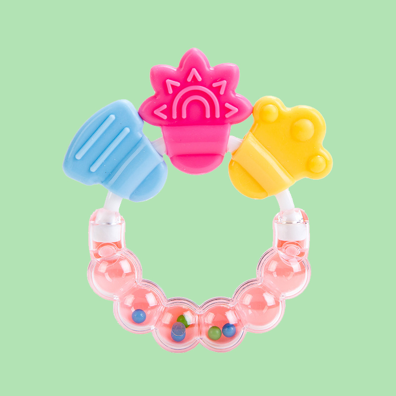 Legenday Bpa Free Silicone Infant Rattling Teether Soothing Teethers Baby Teething Ring Toys