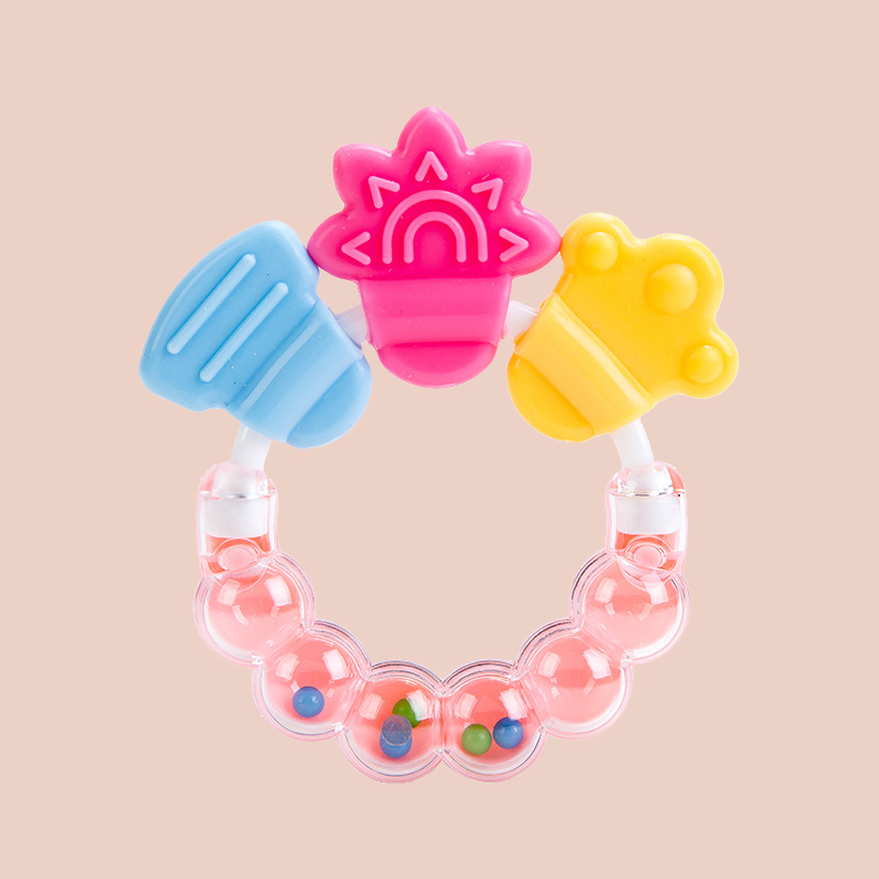 Legenday Customized Food Grade Sensory Teething Toy Bpa Free Baby Silicone Baby Rattle Teether Ring