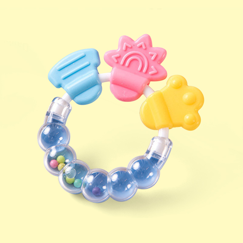 Legenday New Safety Rattle Shape  Baby Teether Rings Silicone Baby Teether Chewable Toys
