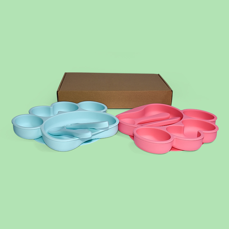 Legenday Non-Toxic Bpa Free Food Grade Baby Suction Silicone Food Square Plate Set Baby Plate Feeding Set