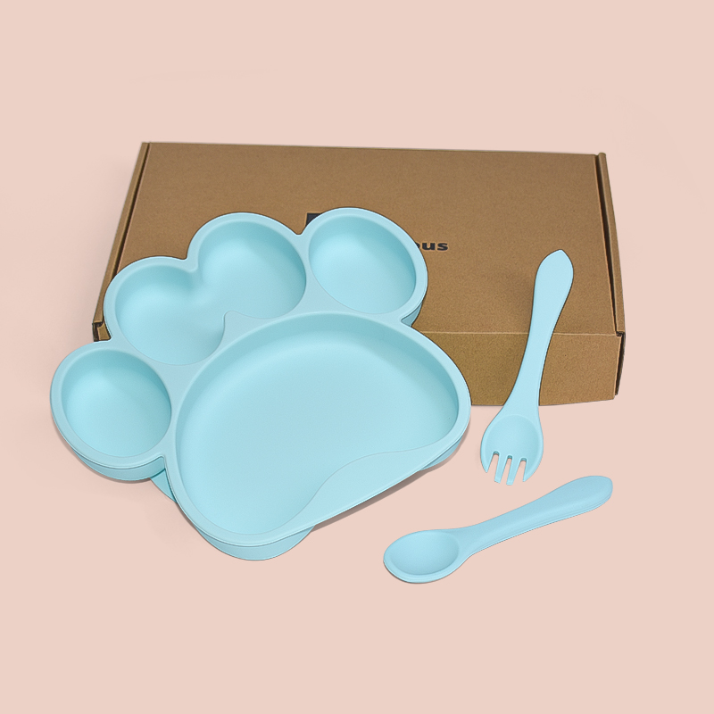 Legenday Bpa Free Safe Baby Silicone Plate With Spoon And Fork Feeding Suction Plate Set