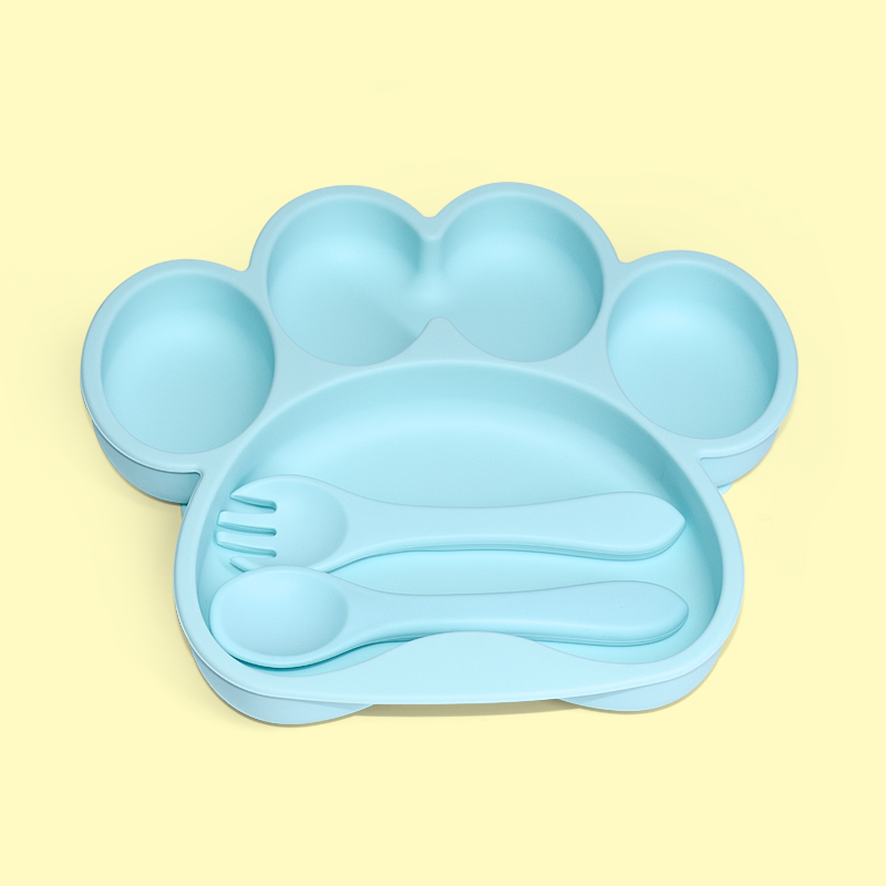 Legenday Custom Bpa Free Safe Silicone Baby Dinner Suction Plate With Fork Spoon Silicone Toddler Plate Feeding Set