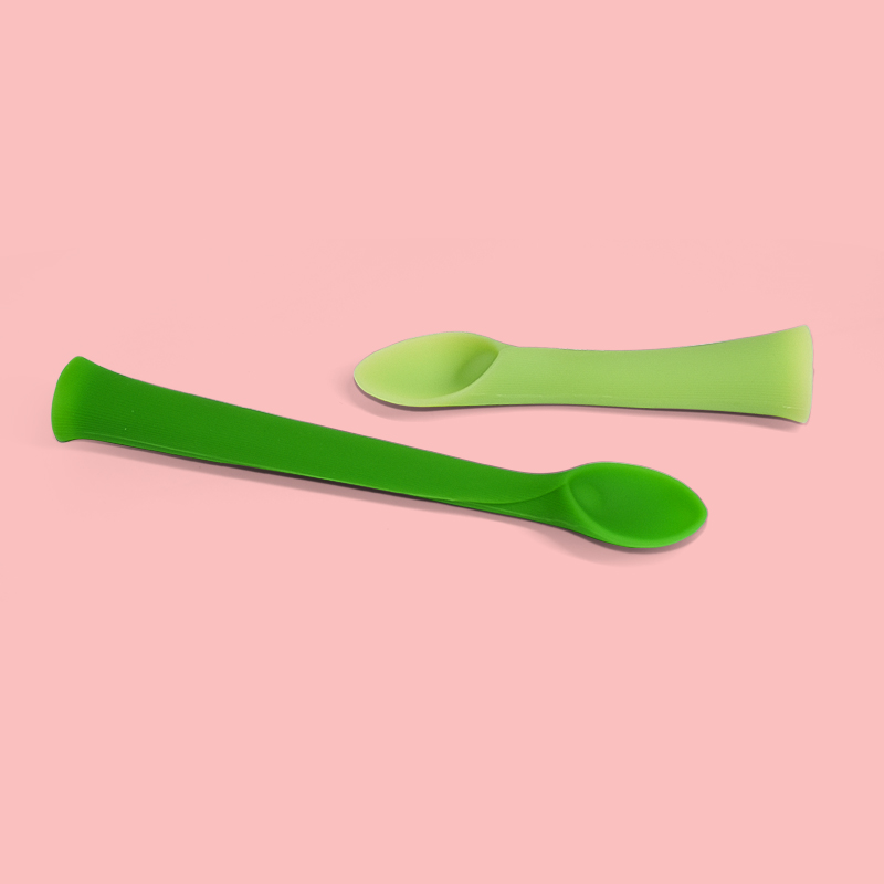 Legenday Bpa Free Cute Silicone Baby Weaning Feeding Set Flexible Toddler Baby Silicone Rice Cereal Spoon