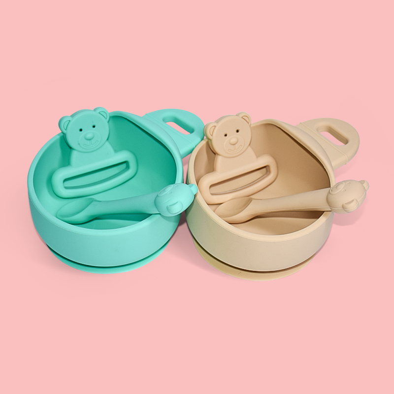 Legenday Foldable Silicone Baby Feeding Tableware Set Non-Slip Silicone Collapsible Baby Snack Bowl