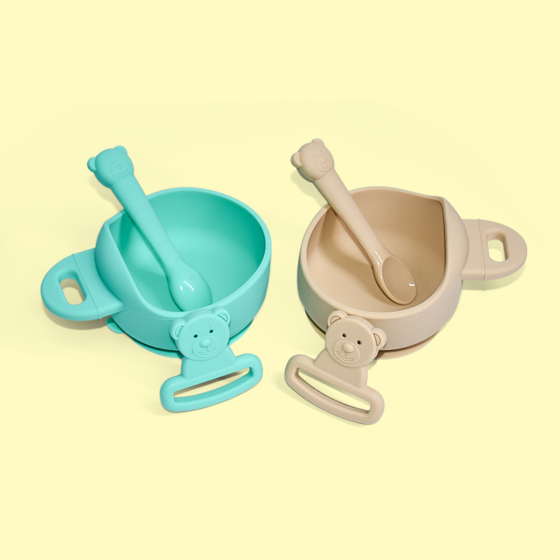 Legenday Hot Sale Food Grade Silicone Baby Feeding Bowl No-Spill Silicone Baby Suction Bowl With Spoon