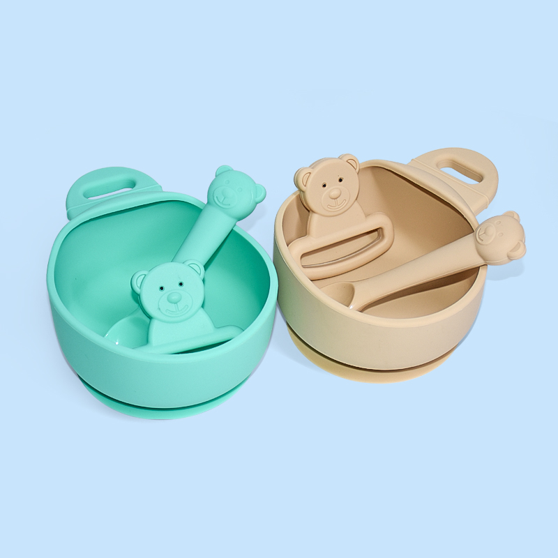 Legenday Customisefood Grade Non Spill Baby Food Feeding Silicone Suction Baby Bowl And Spoon