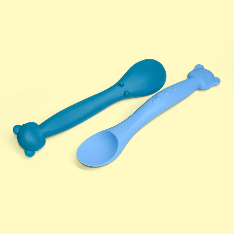 Legenday Colorful bpa free silicone baby food spoon soft foldable baby training baby feeding spoon