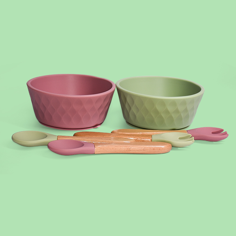 Legenday Hot Selling Bpa Free Baby Silicone Tableware Waterproof Suction Bowl And Spoon Fork For Children